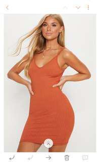 Pretty Little Thing - Burnt Orange Ribbed Dress - Size 10