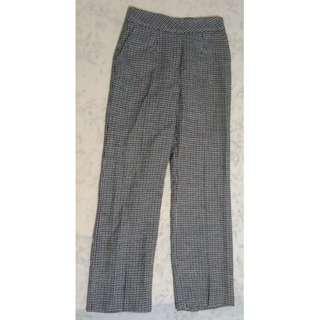 韓國帶回 設計師款 格紋毛呢質感西裝版型長褲
