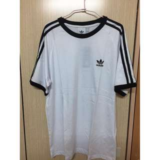 Adidas original 三葉草 三線 短T 短袖 t-shirt 黑 白 cw1202 CW1203 刺繡款