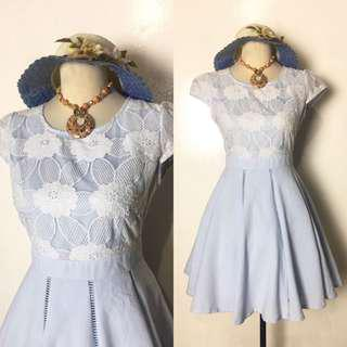 Powdered Blue with Lace Details Dress