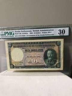 😉1935 Straits Settlement $10 - PMG 30
