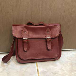 Maroon satchel bag