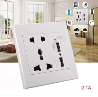 USB Wall Charger Socket Adapter Universial Power Outlet Panel with Switch