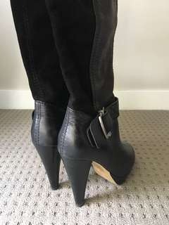 Long black Tony Bianco leather boots with heel