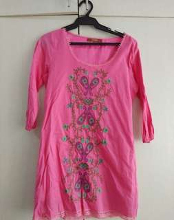 Mags pink emroidered dress