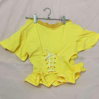 Yellow Off Shoulder Corset Waist