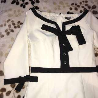 white dress with black detailings