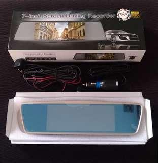 7-inch Screen Dual Lens Rearview Mirror Dash Camera