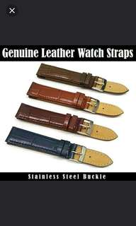 Genuine Leather Watch Strap With Stainless Steel Buckle Design: Alligator Grained Lug Width: 12mm or 18mm