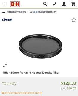 🚚 Tiffen 82mm Variable Neutral Density Filter