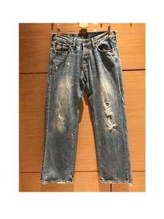 🚚 全新 A&F 藍色直筒破褲