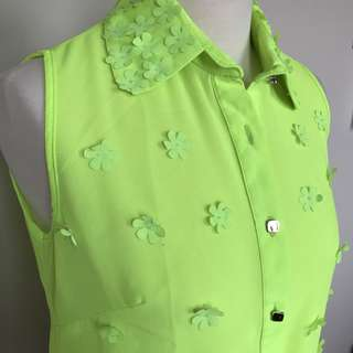 Fresh Green Floral 3D Blouse