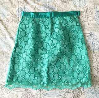 Leonyevelyn turquoise lace skirt