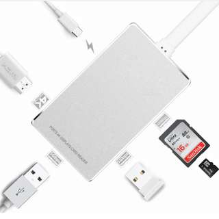 Type-C Hub USB-C 3.1 to HDMI Adapter 4K+USB 3.0+ - Type-c Hub+充電讀卡器4k hdmi鋁合金 - S1418