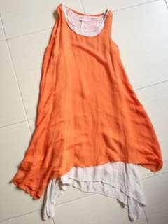 Sleeveless Orange Long Dress