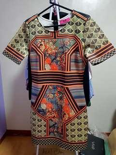 K-8 LA oriental print scuba dress size XL