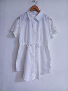 🚚 白色蕾絲長版襯衫