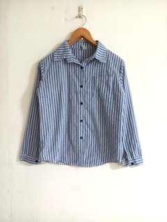 🚚 韓版藍白條紋襯衫