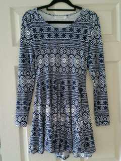 Blue & White Patterned Top/Dress Size 6