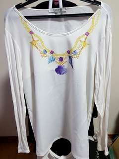 Forever21 white backless top Large