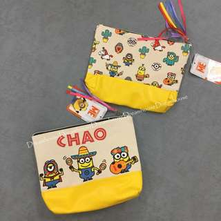 大阪環球影城 小小兵 小黃人 帆布 皮革 拼接 墨西哥 拉丁 度假風 雙面圖案 化妝包 萬用包 隨身包 收納包