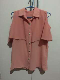 Salmon Open Sleeves Top