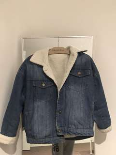 Denim fur jacket