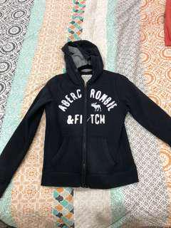 Abercrombie and Fitch Navy, grey and white hoodie