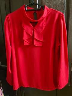 Red Long Sleeves Office Blouse