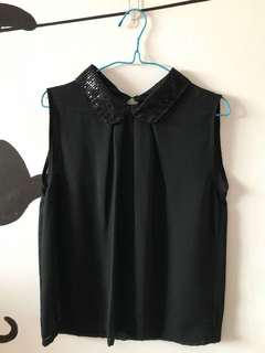 🚚 Black Top with Sequin Collar