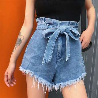 [PO]Highwaisted Paperbag Fray Hem Denim Short