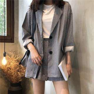 [PO] Gingham Checkered Blazer Set