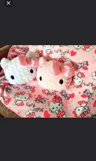 Hello kitty HK kt cartoon blanket cushion zip pink