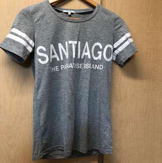 Santiago baseball white stripes shirt