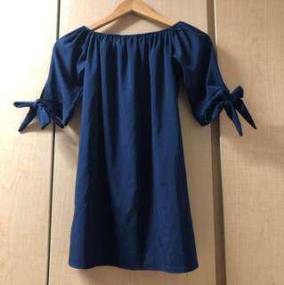 Blue Off Shoulder Dress ribbon bow
