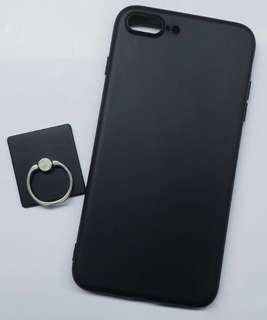 Iphone 7plus 黑色磨沙手機套phone case 送全黑磨沙手機指環