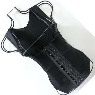 重機能防駝背心 黑色蕾絲 排扣 魔塑美型 馬甲塑身衣 M號
