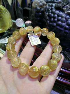 天然金髮晶手鏈 12.6mm 招財金發晶水晶手鏈
