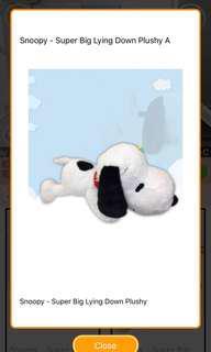 🚚 BNIP Snoopy Super Big Lying Down Plushy from Toreba