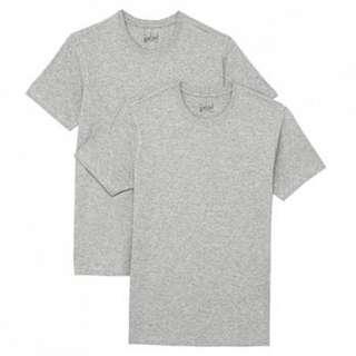 無印良品 有機棉圓領短袖衫XS (男女均可穿) 黑色1/灰色2 單件$60/可蝦皮