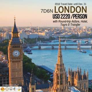 7D6N London Tour Package