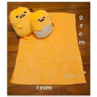 現貨🐣蛋黃哥抱枕靠枕附法蘭絨毯