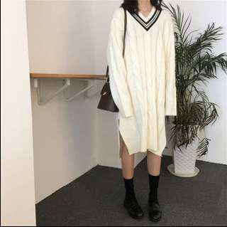 Long v neck knit dress