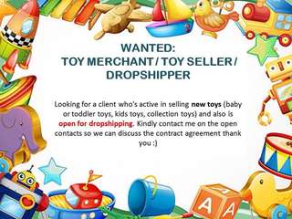 WANTED TOY SELLER/TOY MERCHANT/DROPSHIPPER