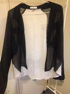 Black and white long sleeve shirt size small