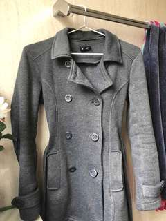 CHARCOAL GREY COAT BARDOT