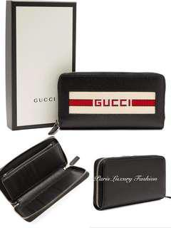 91f84d1ecd4a Preorder | GUCCI Logo striped-Jacquard Leather wallet