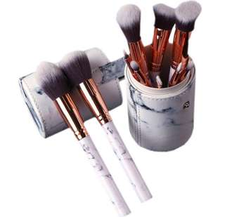 (PO) Marble makeup brush set with round case