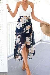Kathleen Dress in Navy Blue Floral
