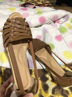 Brown Tan Nude Peeptoe Flats
